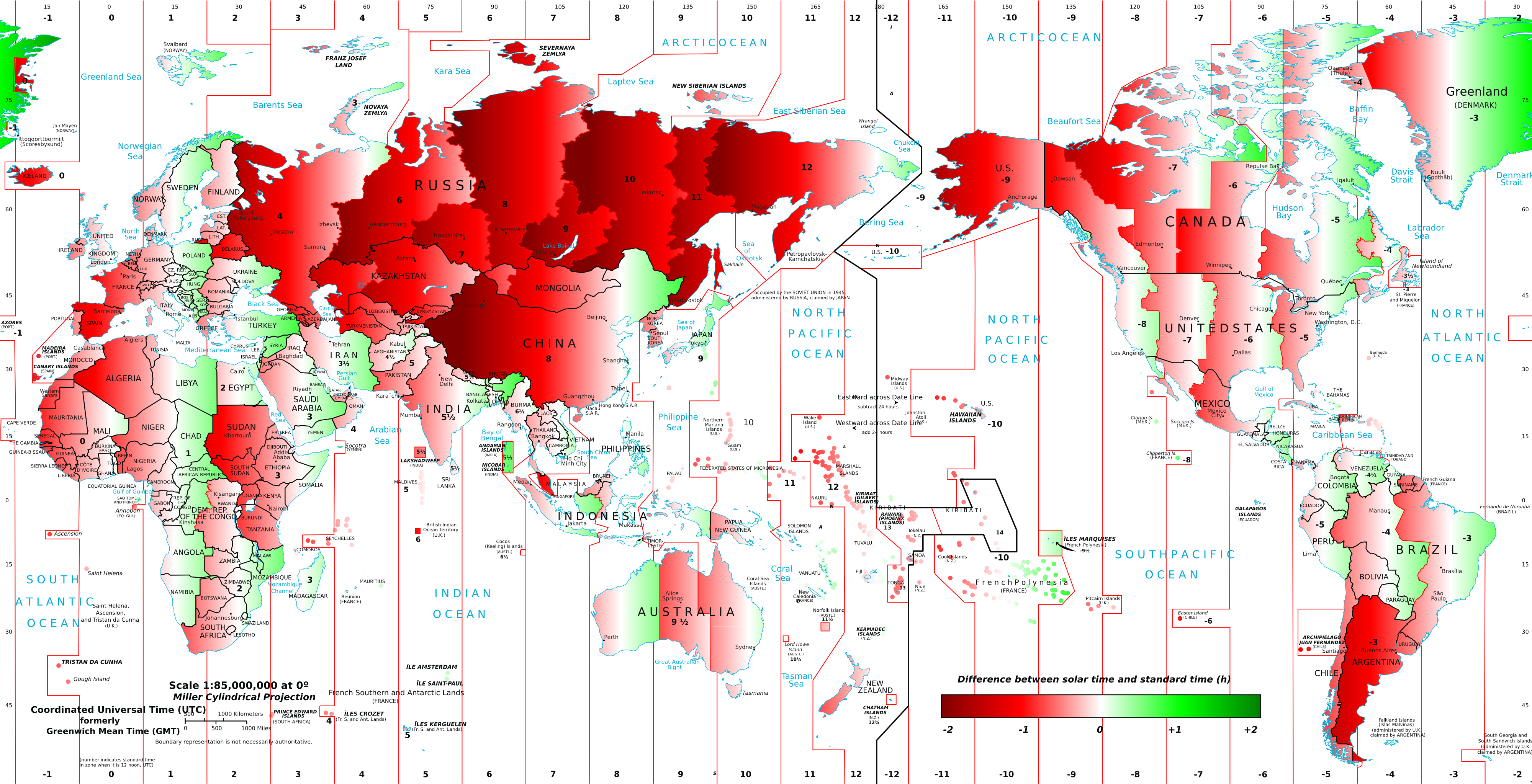 How Much Is Time Wrong Around The World The Poor Mans Math Blog - Us time zone map with times